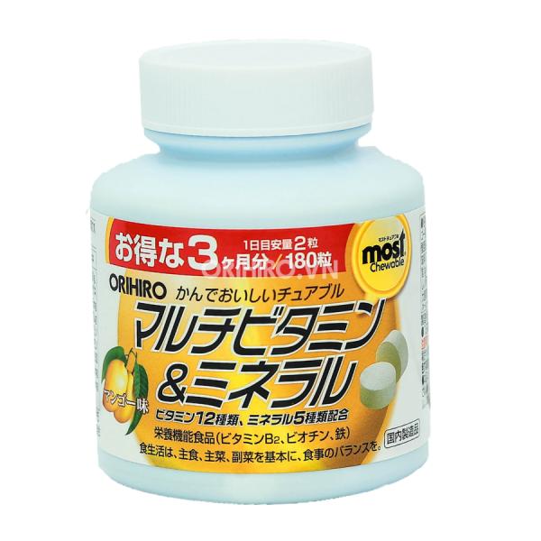 Viên nhai bổ sung Vitamin và khoáng chất Orihiro Most Chewable 180 viên
