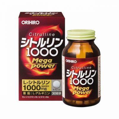 Hình ảnh minh họa Viên uống bổ sung năng lượng Citrulline 1000mg Orihiro. Nguồn: Internet