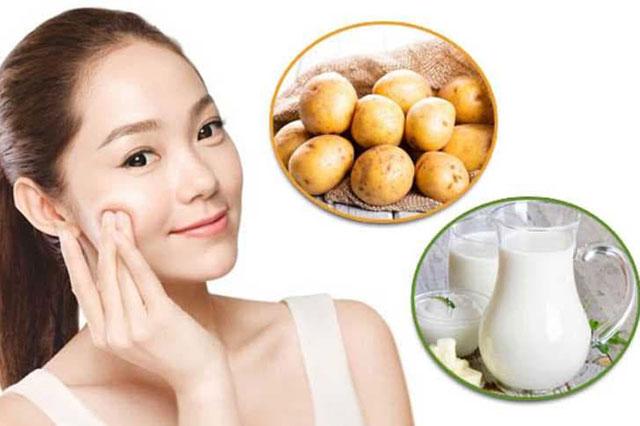 Làm trắng da tại nhà bằng hỗn hợp khoai tây và sữa tươi không đường