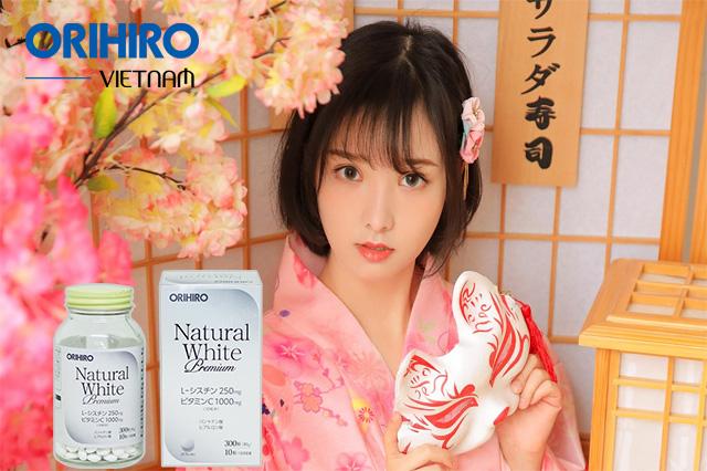 Viên uống trắng da chính hãng Natural White Premium Orihiro của Nhật